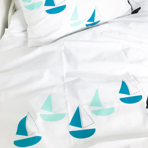 BON VOYAGE Teal | Kids Nautical Duvet Set | Single Size