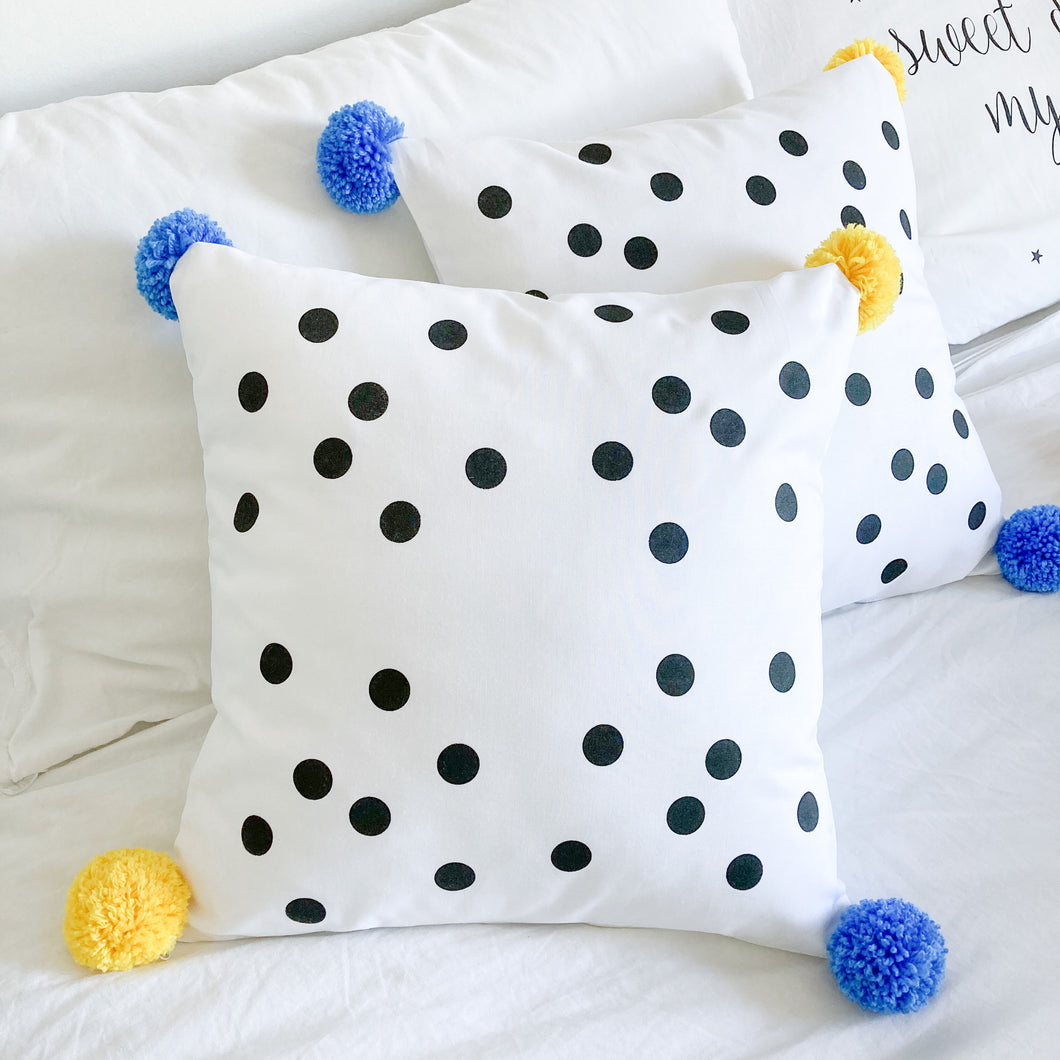 POMPOMS for PEACE | Spotty Cushion with Pom Poms | Blue & Yellow