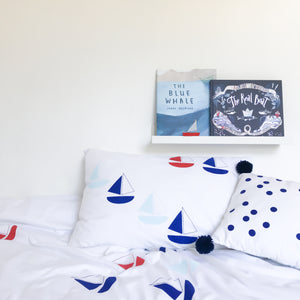 BON VOYAGE Blue | Nautical Design Pillow Case | Kids Bedding