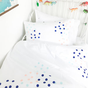 DOTTY ABOUT YOU Blue | Kids Spotty Design Pillow Case | Kids Bedding