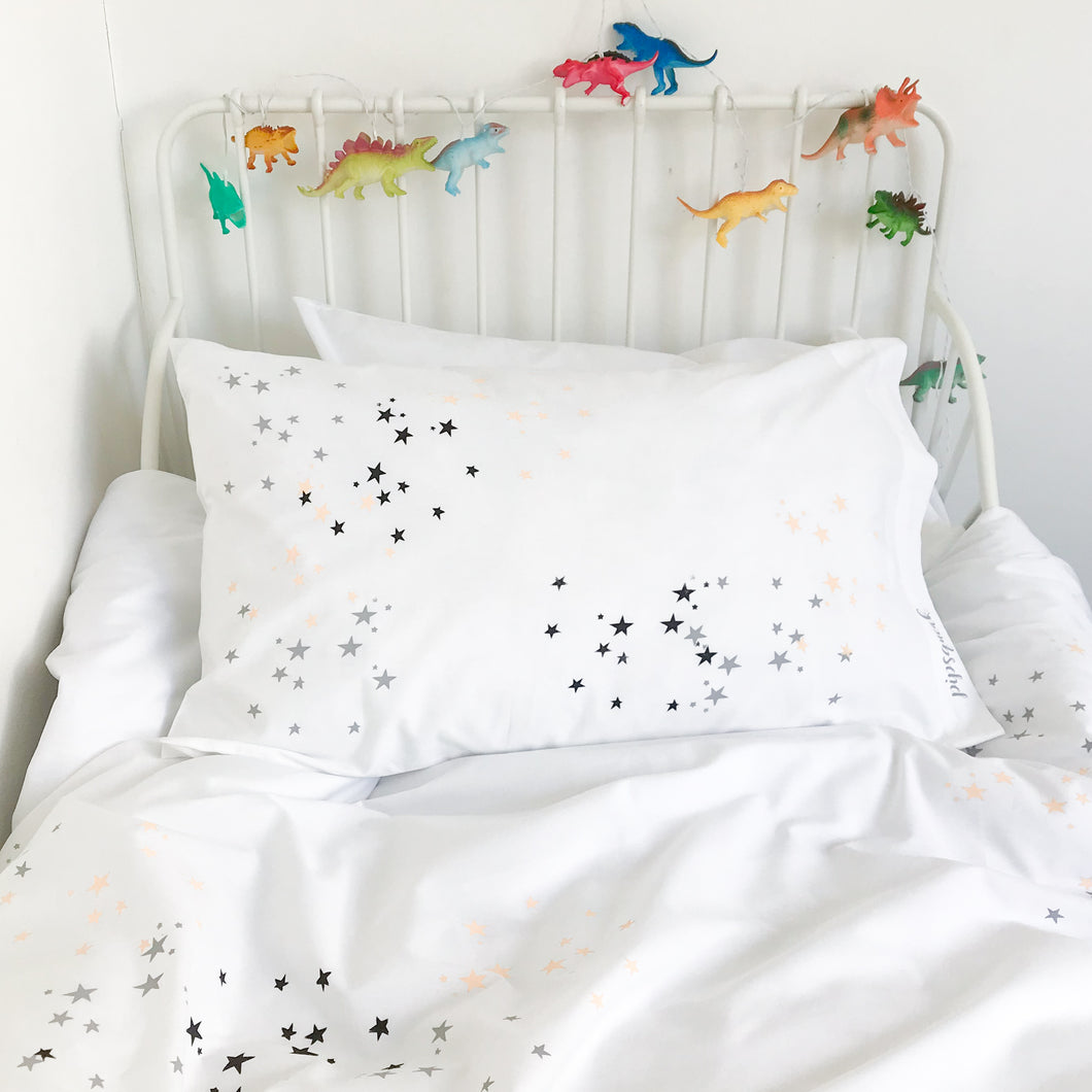 TWINKLE STAR Peach | Star Design Pillow Case | Kids Bedding