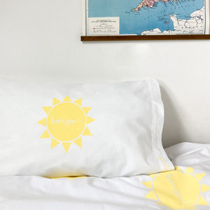 BONJOUR SUNSHINE Yellow | Sun Design Pillow Case | Kids Bedding