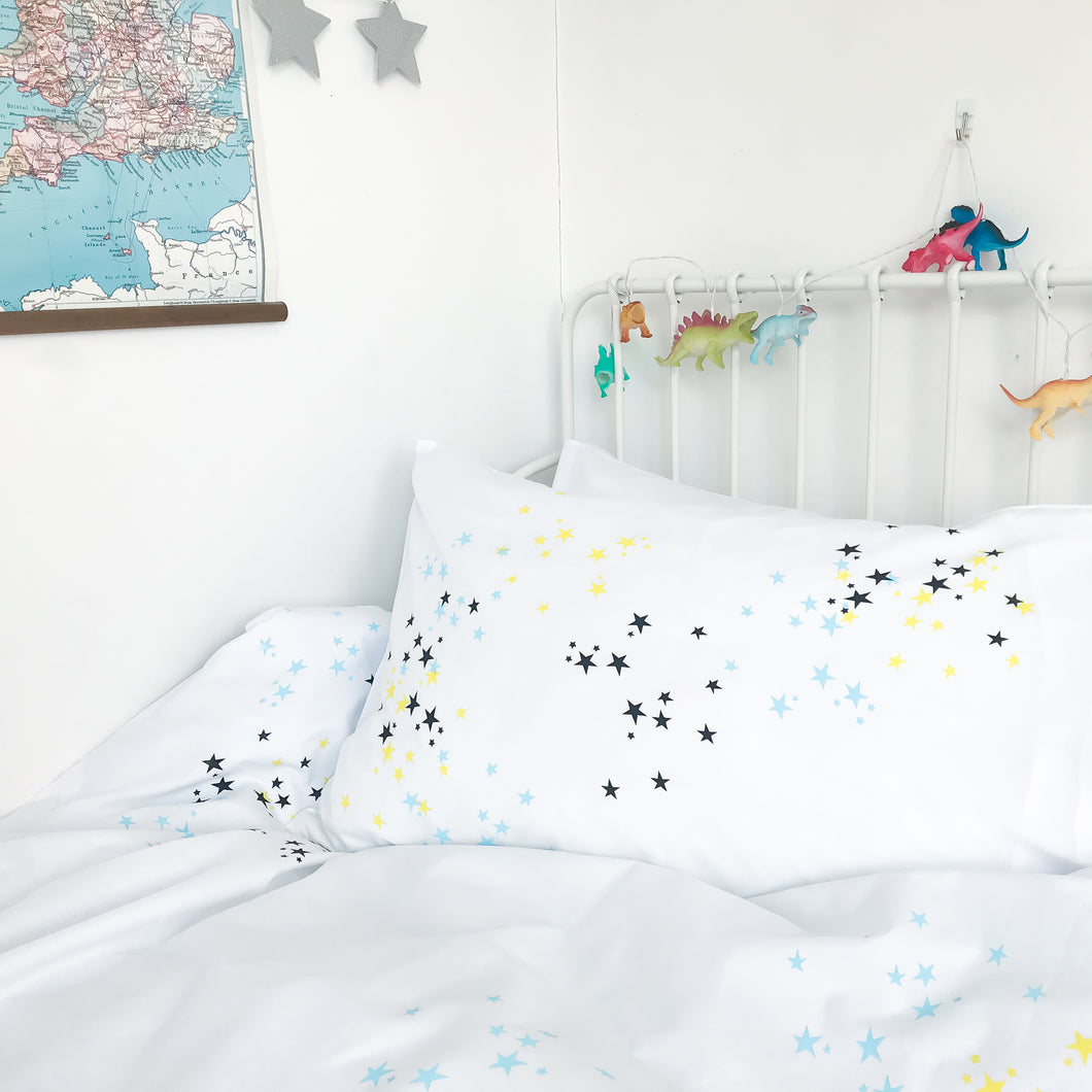 STARDUST Blue | Star Design Pillowcase | Kids Bedding