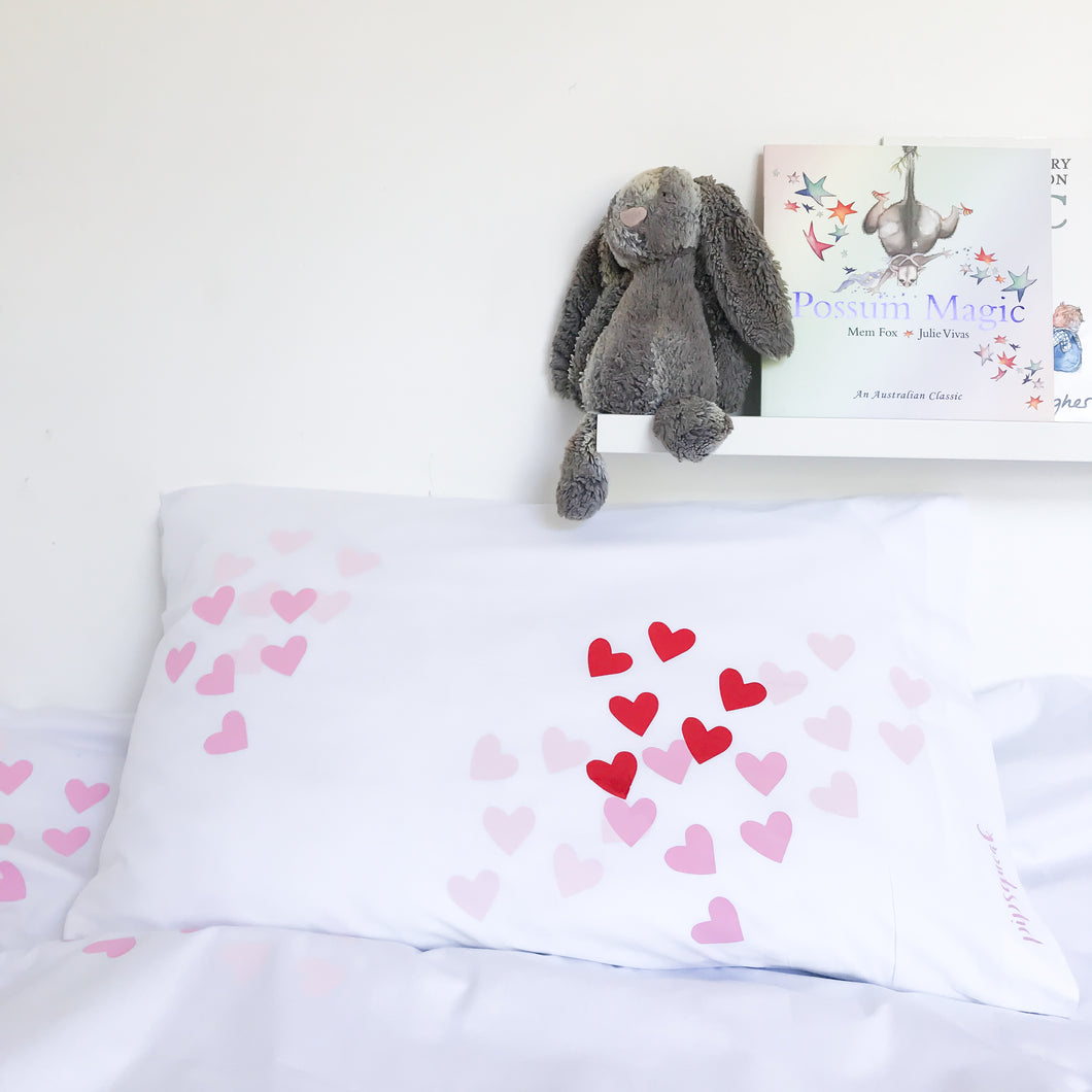 OH MY HEART Pink | Heart Design Pillow Case | Kids Bedding