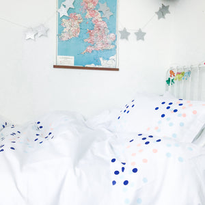 DOTTY ABOUT YOU Blue | Kids Spotty Design Duvet Set | Single Size