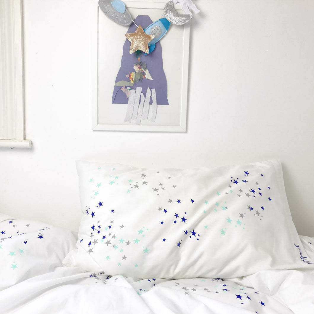 STARDUST Aqua | Kids Star Design Duvet Set | Single Size