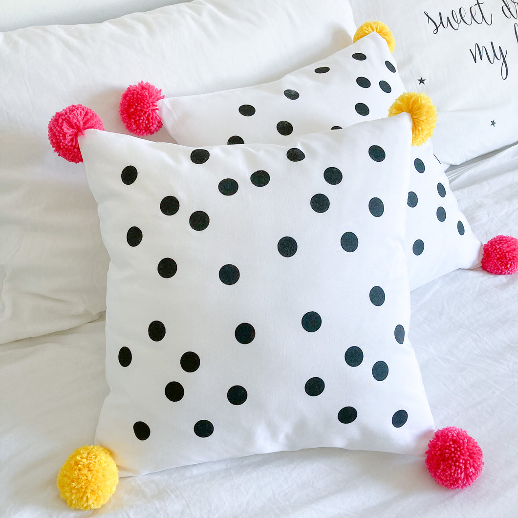 POMPOMS for PEACE | Spotty Cushion with Pom Poms | Pink & Yellow