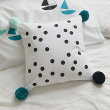 'POM POMS for PEACE' Spots (Black) Cushion Cover