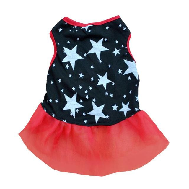 Small Dogs Cozy Puppy Stars Print Vest Dress Pet Cat Cotton Clothes Xs/s/m/l - Cats Dress
