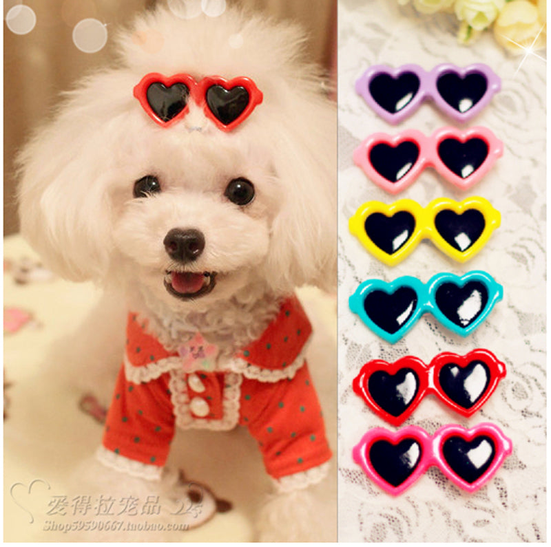 2pcs/pair Top Quality Dog pet hair bows dog accessories Love Glasses Design  Pet Dog Hair Bows pet Grooming Products Cute Gift
