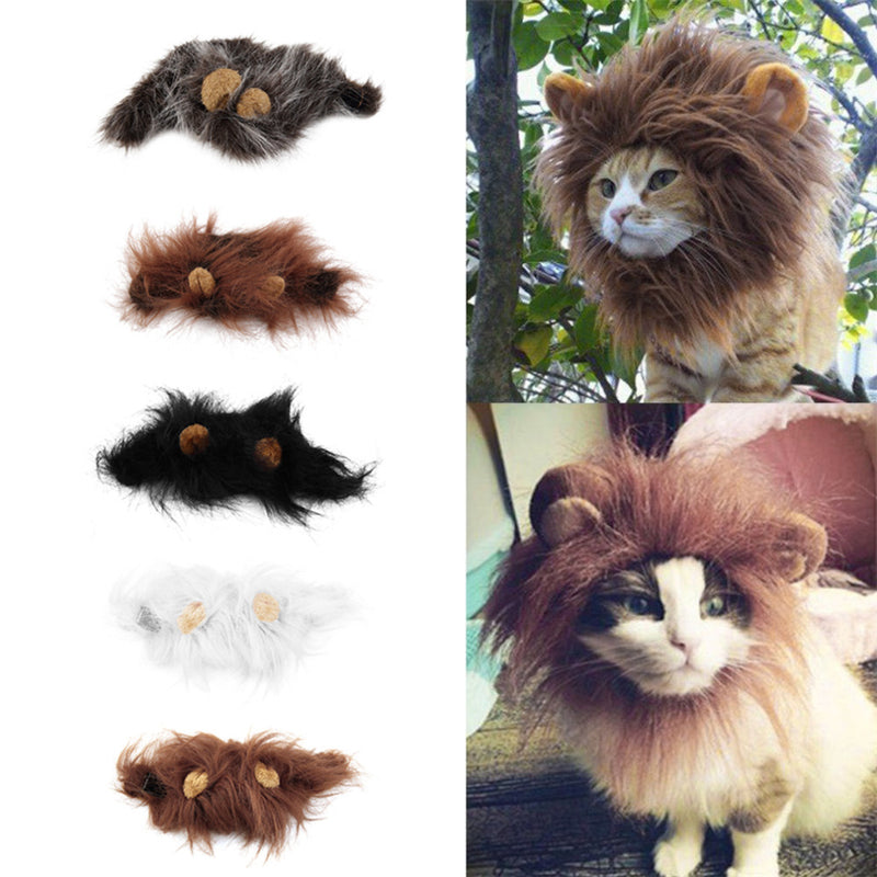 Pet Cat Dog Emulation Lion Hair Mane Ears Head Cap Autumn Winter Dress Up Costume Muffler Scarf - Cats Dress