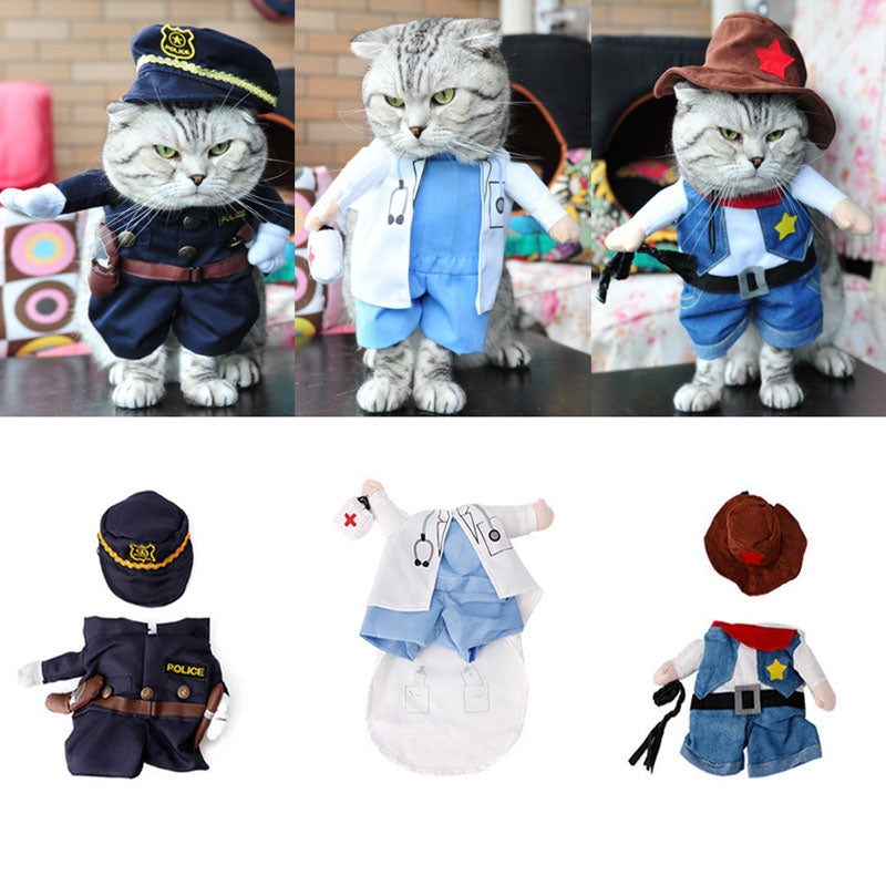 Funny Pet Costume Dog Cat Costume Clothes Dress Apparel Doctor Policeman Cowboy - Cats Dress
