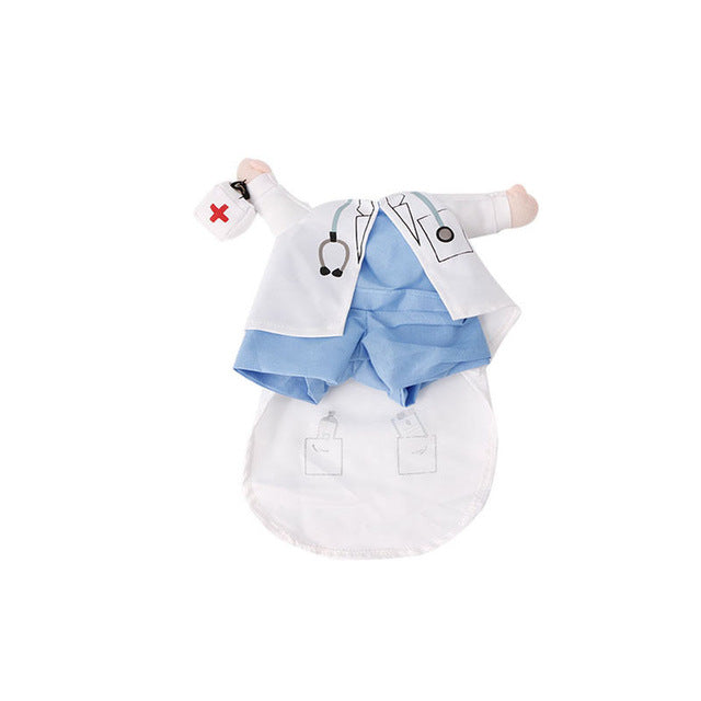 Funny Pet Costume Dog Cat Costume Clothes Dress Apparel Doctor Policeman Cowboy - White / L - Cats Dress