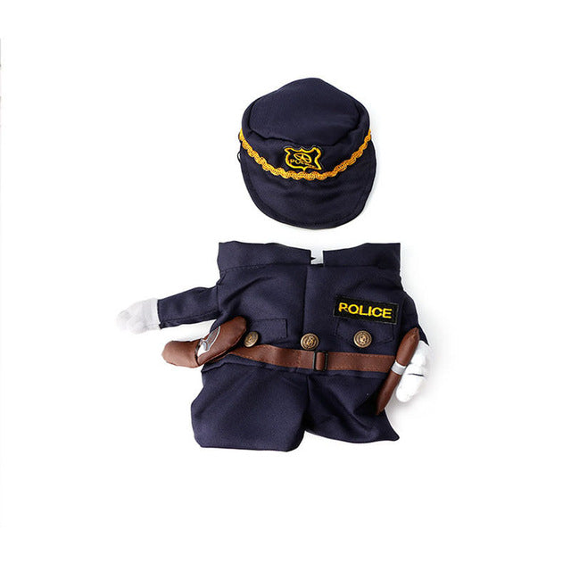 Funny Pet Costume Dog Cat Costume Clothes Dress Apparel Doctor Policeman Cowboy - Black / L - Cats Dress