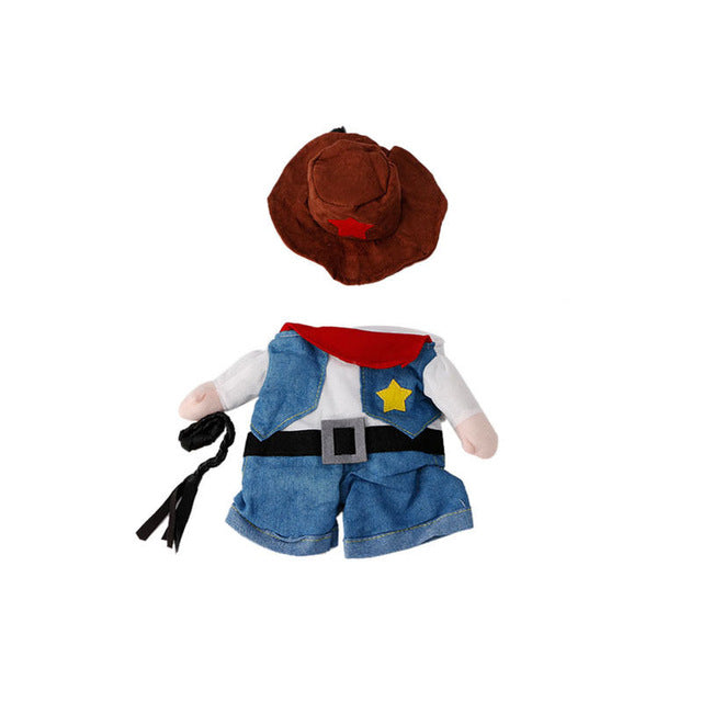 Funny Pet Costume Dog Cat Costume Clothes Dress Apparel Doctor Policeman Cowboy - Blue / L - Cats Dress