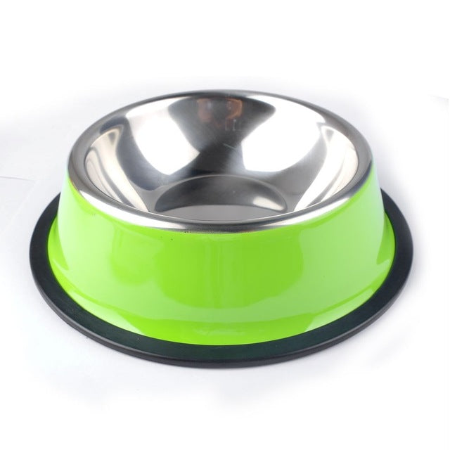 4 Size Stainless Steel Color Spray Paint Pet Dog Bowls Puppy Cats Food Drink Water Feeder Pets Supplies Non-slip Feeding Dishes