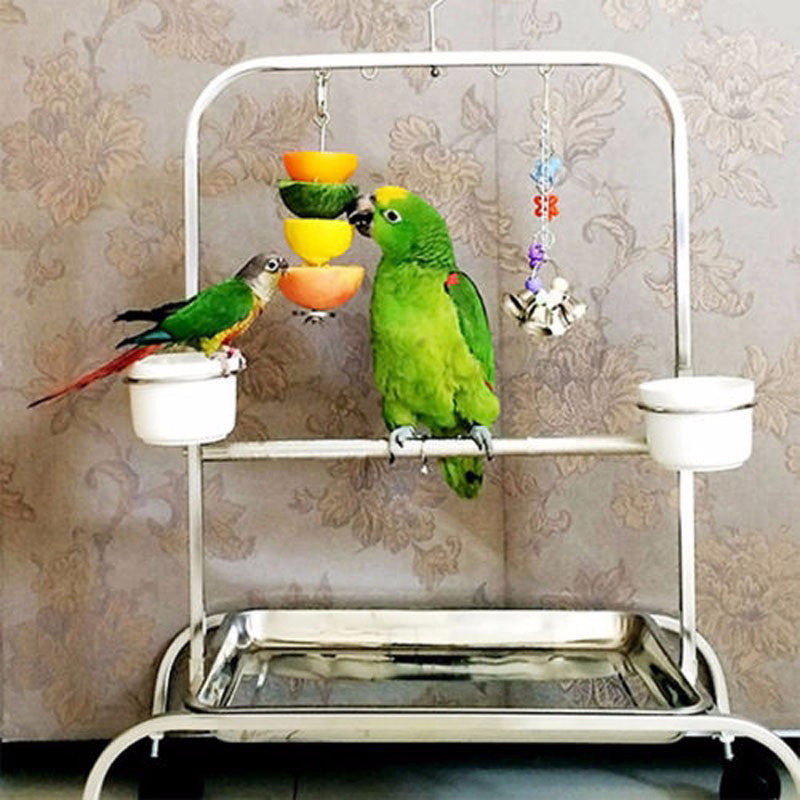 WHISM S/L Birds Foraging Toys Parrot Stainless Steel Food Fruits Fork Feeder Lovebird Treating Tool Bird Cage Accessories