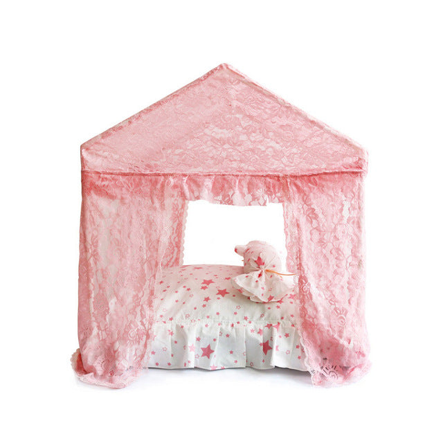 APAULAPET Disassembly Dog Bed Summer Four Curtain Ventilation Netting Pet Dog House Cute Pet Tent With Little Pillow Bow Design