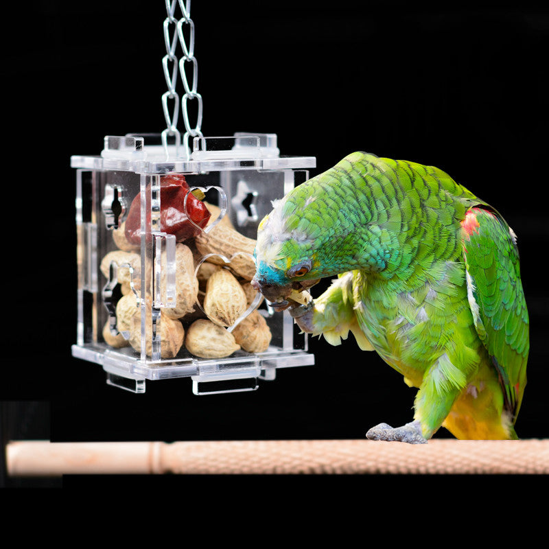 Unique Parrot Bird Cage Feeder Hang Foraging Toys Pet Treat Hunt Macaw Cockatoo Budgie