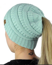 HANDMADE SOFT KNIT BEANIE THAT'S PERFECT FOR PONYTAILS & BUNS
