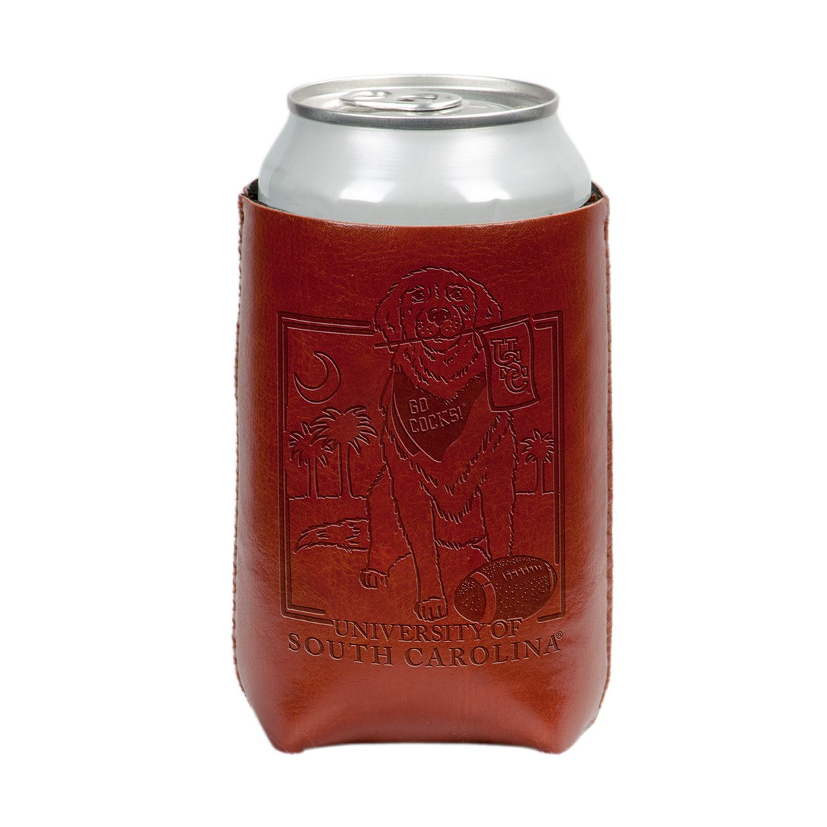 USC Dog Faux Leather Koozie