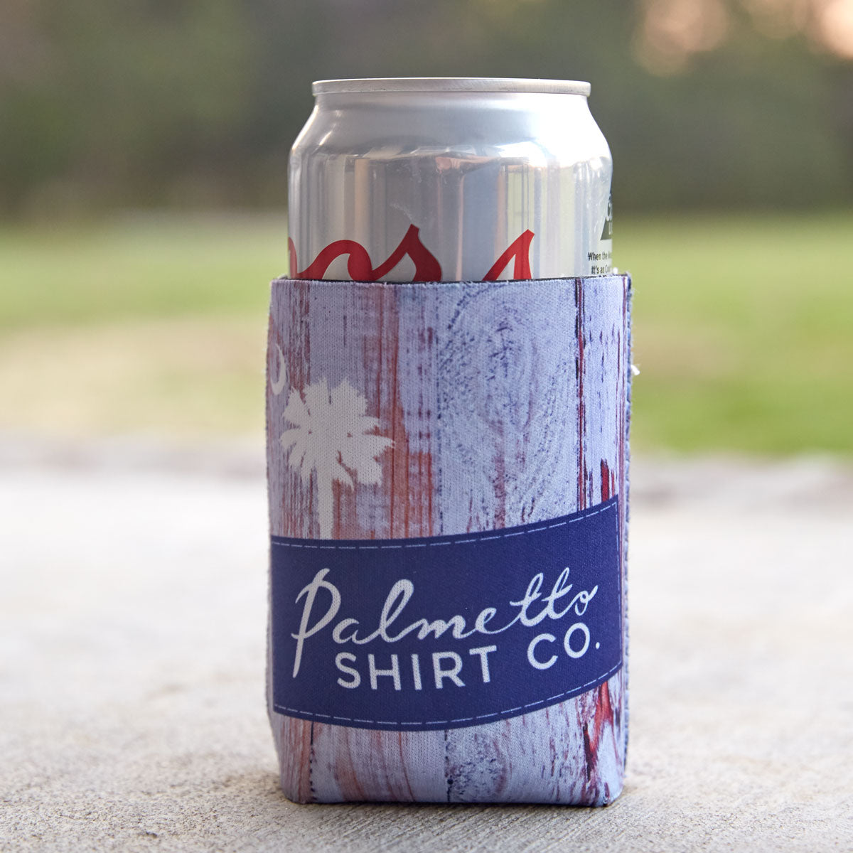 Palmetto Logo on Wood Reversible Koozie