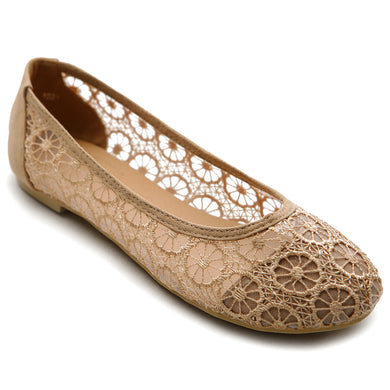 Ollio Women's Ballet Shoe Floral Lace Breathable Flat