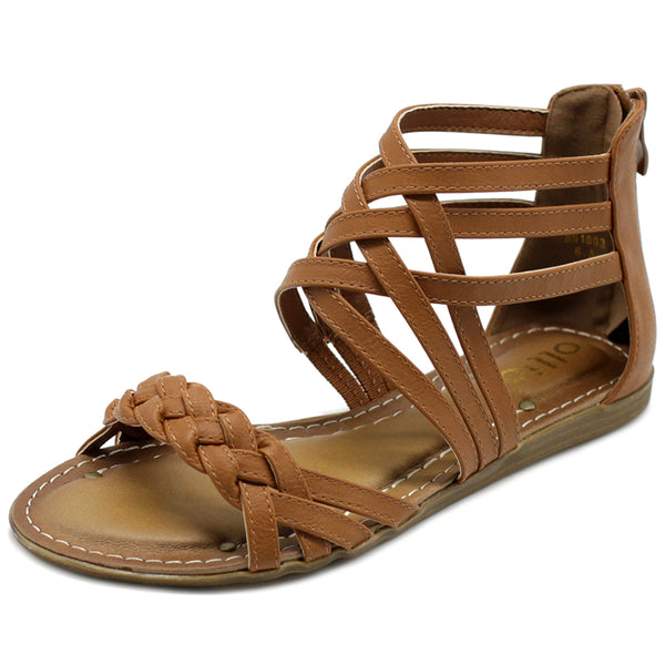 Ollio Women's Shoe Gladiator Strappy Zip Closure Multi Color Sandal