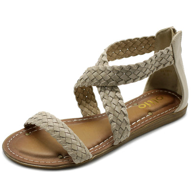 Ollio Women's Shoe Cross Braided Multi Color Flat Sandal