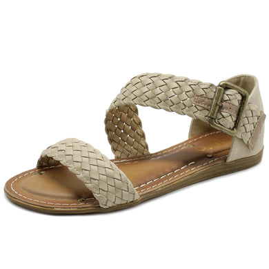 Ollio Women's Shoe Braided Side Buckle Accent Multi Color Flat Sandal