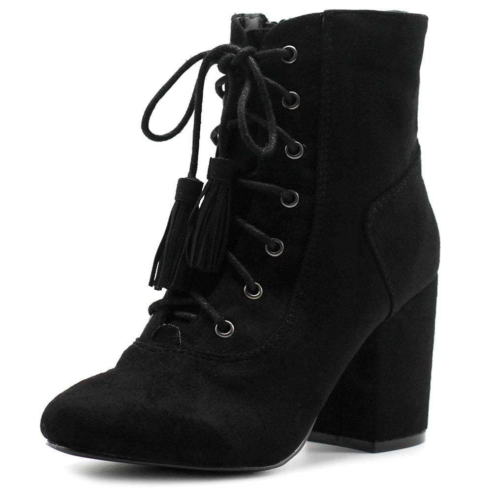 Ollio Women's Shoe Faux Suede Tessle Lace Up Stacked High Heel Ankle Boots