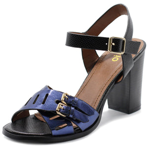 Ollio Womens Double Buckle Metallic High Heel Sandal