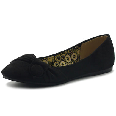 Ollio Women's Shoe Faux Suede Decorative Button Ballet Flat