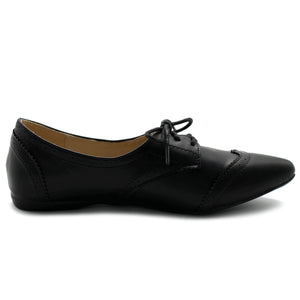 Ollio Women's Ballet Shoe Flat Enamel Pointed Toe Oxford