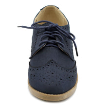 Ollio Women's Flat Shoe Wingtip Lace Up Faux Nubuck Oxford