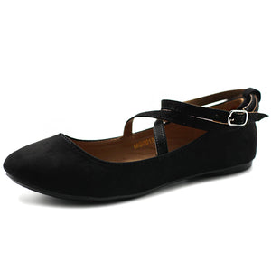 Ollio Women's Shoe Light Comfort Faux Suede Cross Strap Ballet Flats