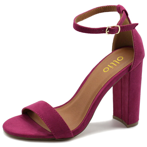 Ollio Womens Shoe Faux Suede Simple Ankle Strap Chunky High Heel Sandals