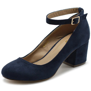 Ollio Womens Shoe Faux Suede Basic Chunky Mid Heel Ankle Strap Pumps