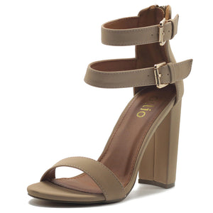 Ollio Women's Shoes Double Ankle Strap Zip Up Chunky High Heel Sandals
