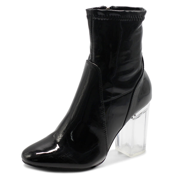 Ollio Women's Shoe Enamel Patent Side Zip Up Clear High Heel Ankle Boots