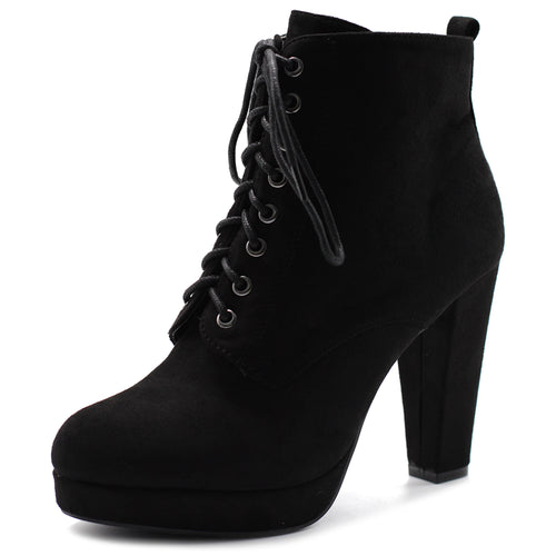 ffb064b4dda Ollio Women s Shoe Faux Suede Lace-up Platform Ankle Chunky Heel Booties