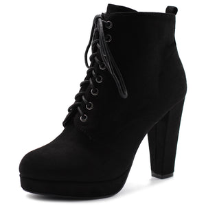 Ollio Women's Shoe Faux Suede Lace-up Platform Ankle Chunky Heel Booties