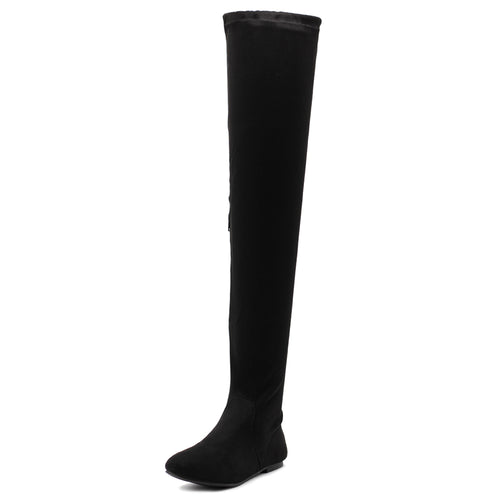 Ollio Women Shoe Adjustable Drawstring Span Faux Suede Faux Leather Thigh-High Zip Up Long Boots