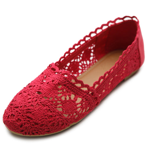 Ollio Womens Shoe Lace Ballet Breathable Flat 1/2