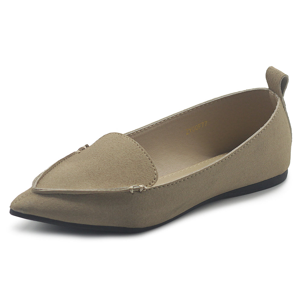 Ollio Women's Shoe Light Comfort Pointed Toe Moccasin Faux Suede Ballet Flats F77