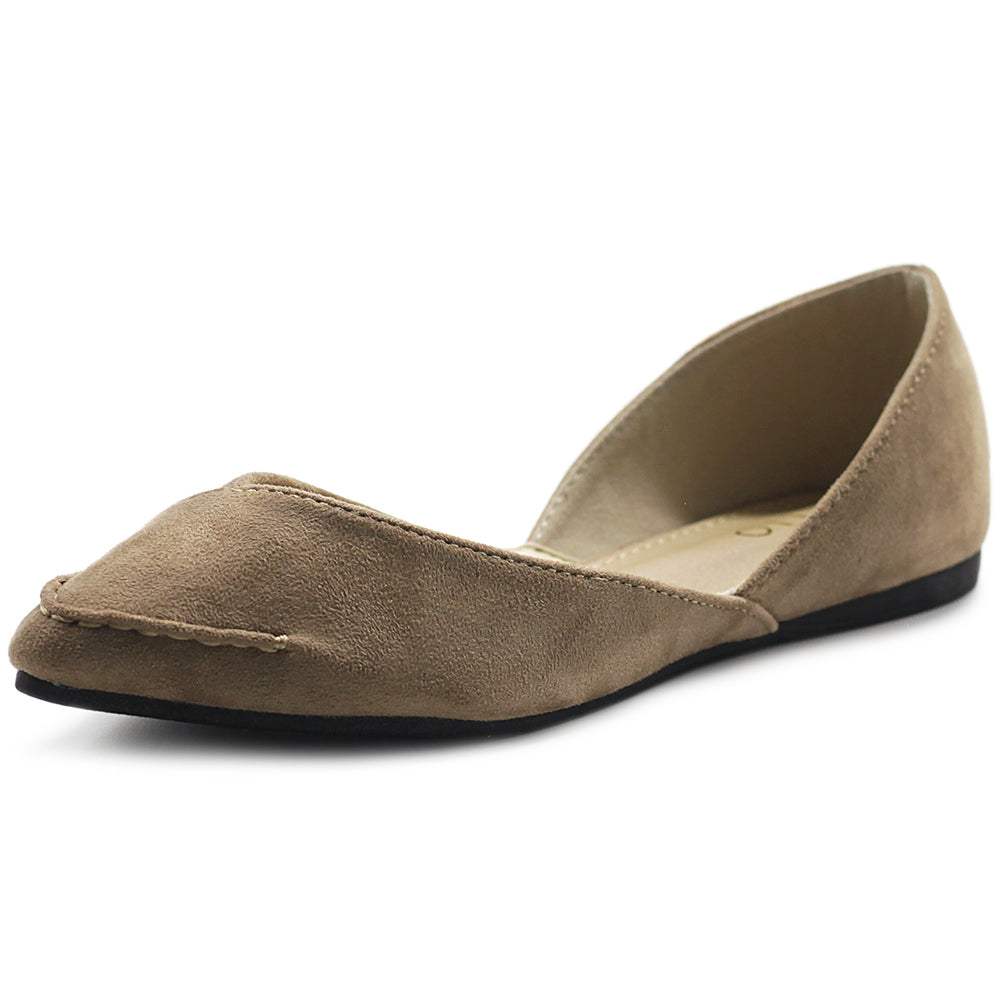 Ollio Women's Shoe Faux Suede Light Comfort Stitching D'Orsay Pointed Toe Ballet Flats F78