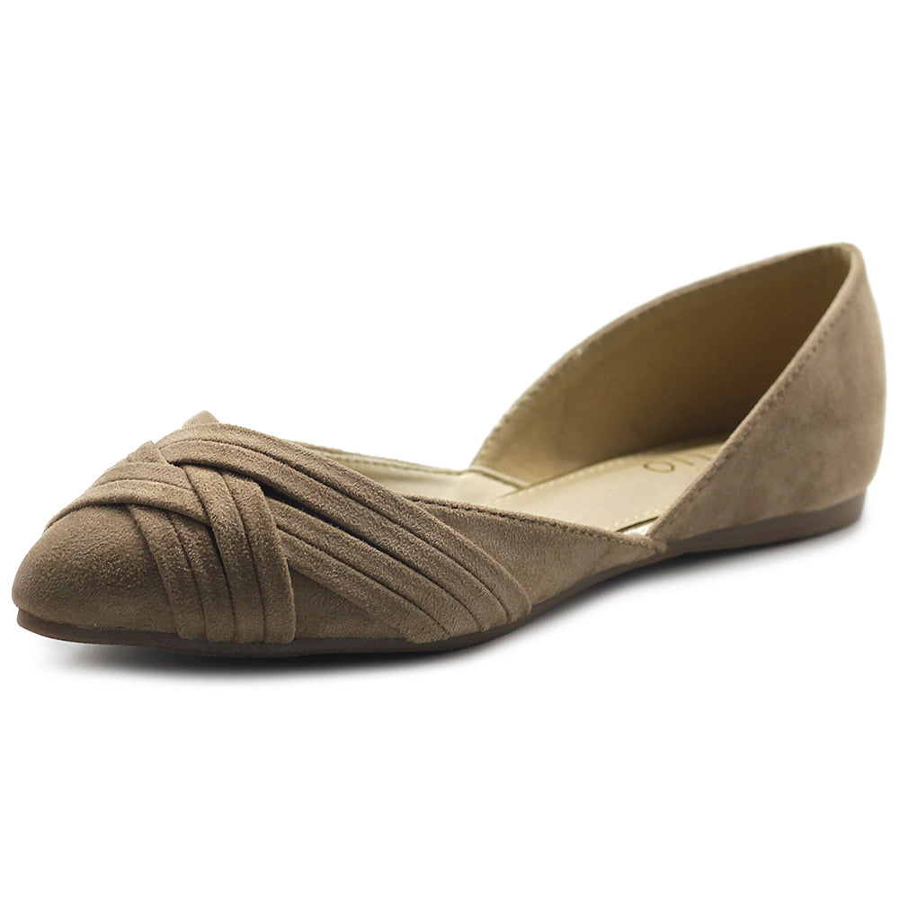Ollio Women's Shoe Faux Suede Light Comforts D'Orsay Pointed Toe Braided Ballet Flat F85