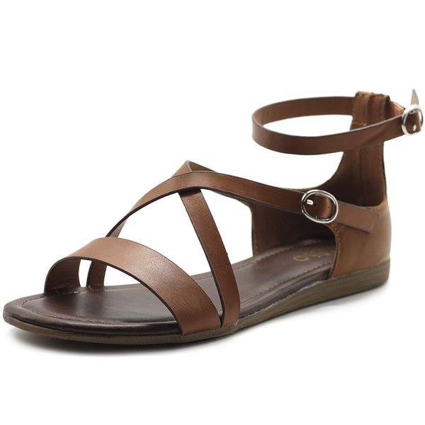 Ollio Women's Shoes Two Buckled Cross Straps Flat Sandals