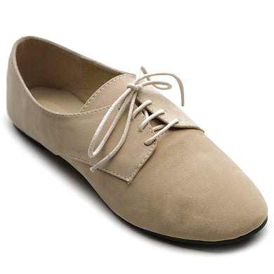 Ollio Women's Ballets Flats Shoes Faux Suede Lace up Oxfords