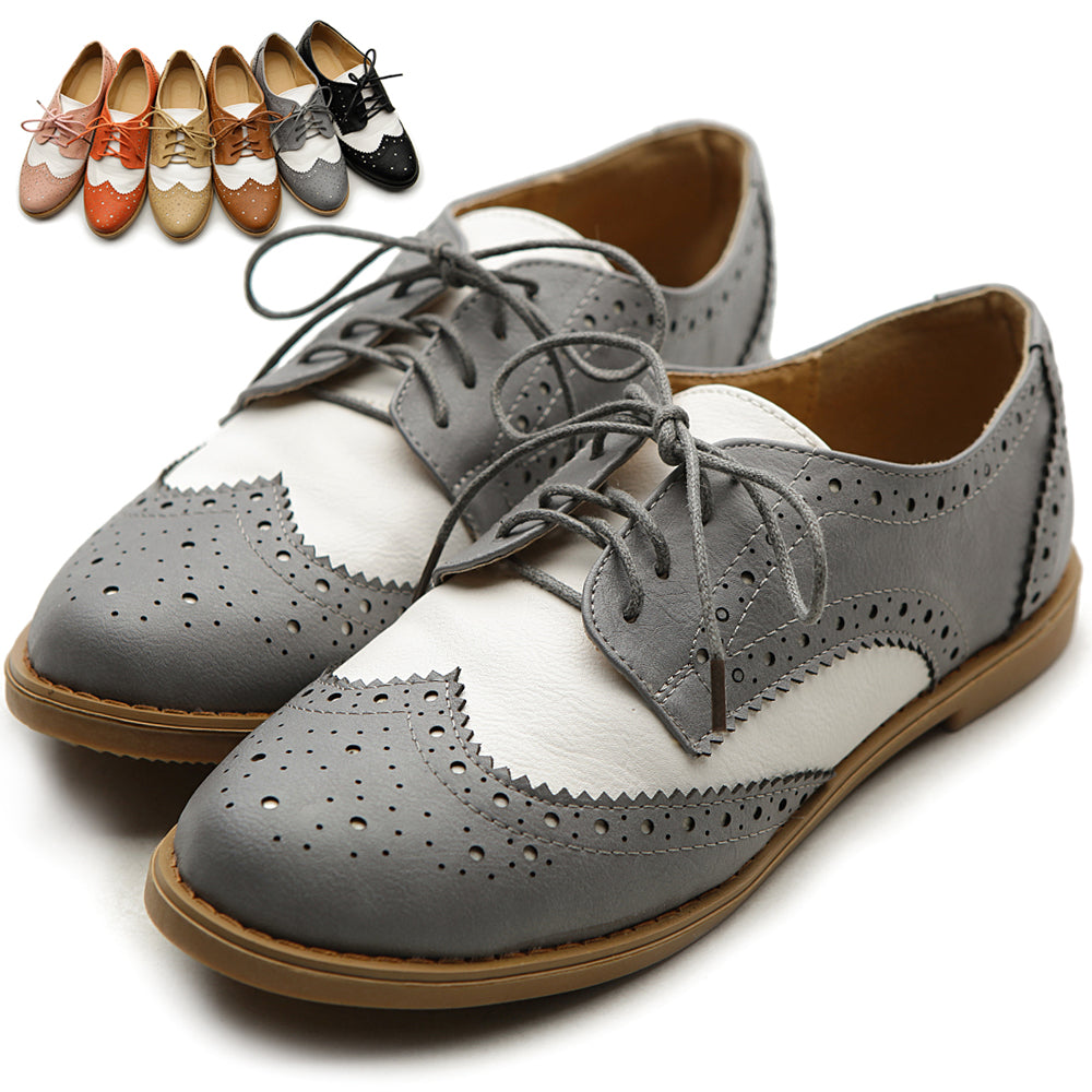 Flat Shoe Wingtip Lace Up Two Tone Oxford